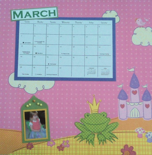 MARCH had such a great background that I used a single Halloween costume photo and let the paper shine.