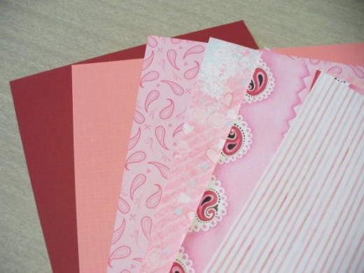For Mina's binder, I picked out a selection of pretty pink papers.  I probably won't use all of these, but it's nice to have a selection to choose from.