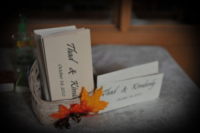 Bulletins in a hand decorated basket