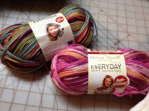 I found these two skeins of yarn to coordinate with my fleece. I couldn't decide, so...
