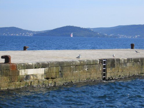 Zadar riva, seagulls taking the rest; view on small island Osljak (Lazaret)