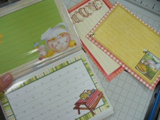 "I found these recipe cards at a local scrapbook and craft store.  They come 6 to a 12x12"" sheet, and cut down to a perfect 4x6"" fit."