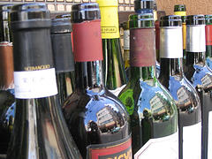 wine bottles at a resturant in downtown nagoya by eva funderburgh