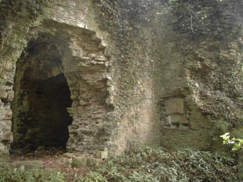 Inside one of the ruined towers