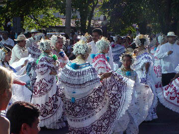Dancing In The Street In Panama With Tembleques In Their Hair