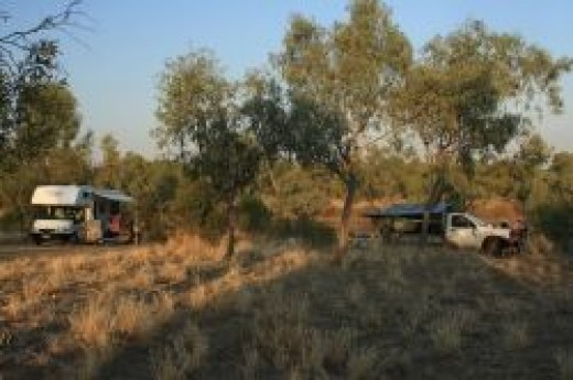 Camping on the Darr River, Longreach