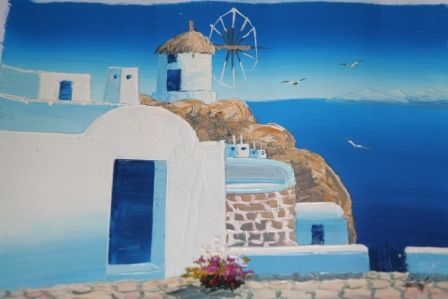 An Oil Painting of Santorini