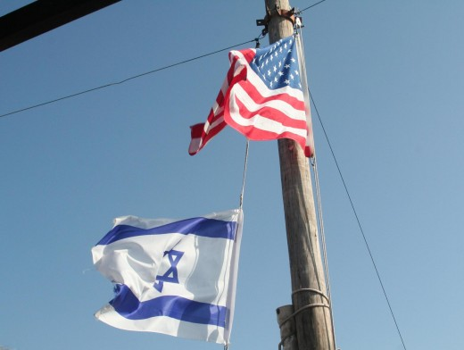Sea of Galilee, Israel and American flags