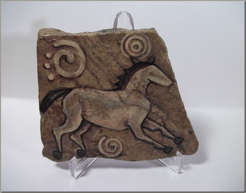 Pictograph Style Running Horse on Sandstone w/ Spirals & Display Stand #sk080