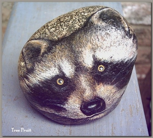 Raccoon Face Spiritkeepers Stone Paperweight #sk017, http://www.artfire.com/ext/shop/studio/ArtistTree