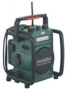 The Metabo site radio has enough bass to be heard over the tools.