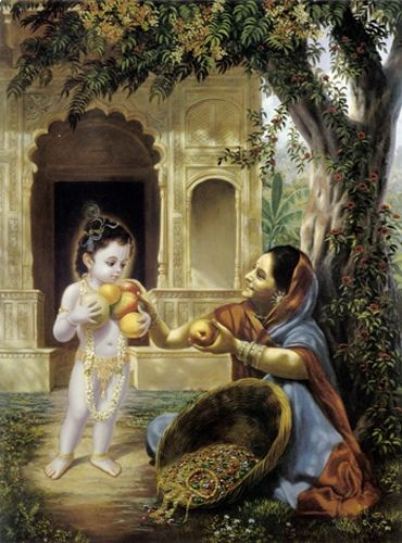 Lord Krishna blesses the Fruit Vendor