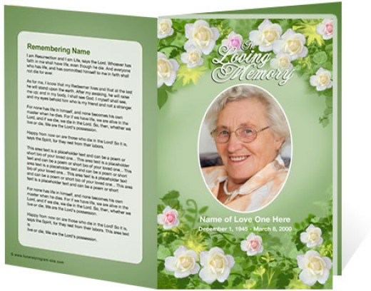 A sample of a funeral programs template for a floral theme from The Funeral Program Site.