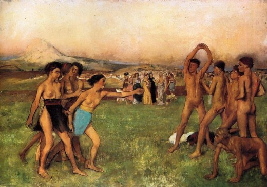 This painting, Young Spartans, by Degas (1860) shows the emphasis that Spartan society placed on physical fitness and strength.