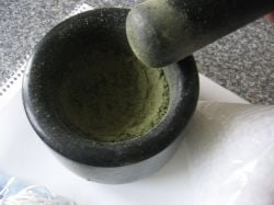 mortar and pestle used to crush herbs