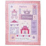 Here's the girls personalized quilt. For more info on the girls pink version follow the link then select the princess version.