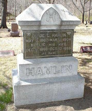 Tombstone of Clyde L. HAMLIN & wife Nellie F. (nee Jenness) HAMLIN.