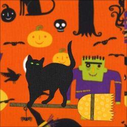 Black cat on monster fabric