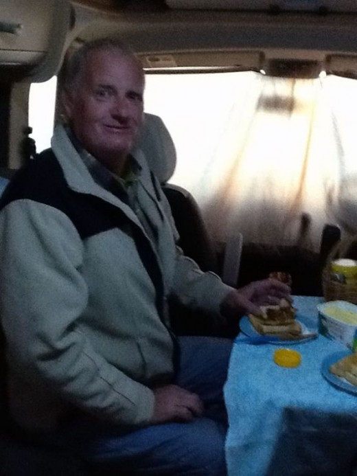 Bab having his first free camping breakfast