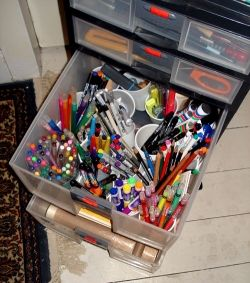 My pens in storage drawers