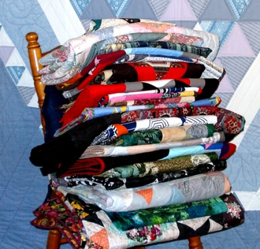 A stack of quilts