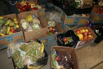 Rescued fruits and vegetables ready to sort for shelter!