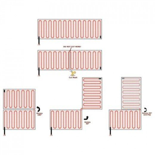 Some floor plans that are possible with this 40 Sq Ft Radiant Floor Heating Kit