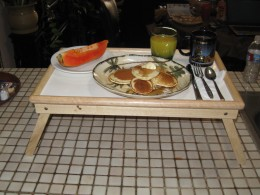 Breakfast Tray ready to be taken from kitchen to the bedroom