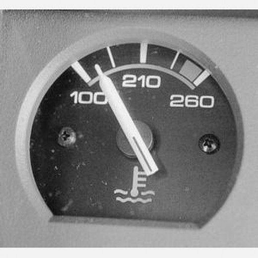 This is what a typical car temperature gauge looks like.
