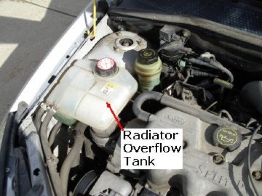 Here is a reserve tank that is located on the side of the engine.