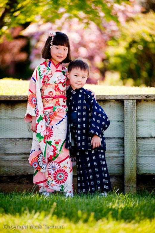 Portrait of kids wearing Kimono.