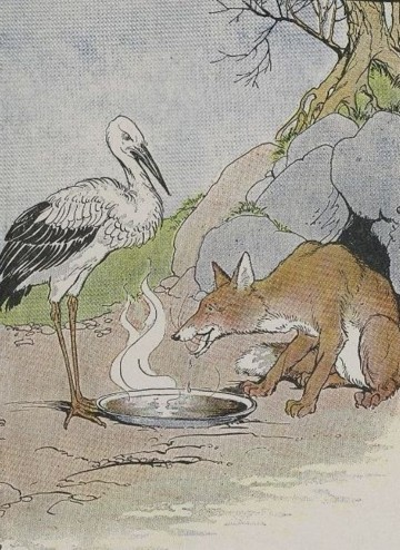 The dinner served by the fox on a shallow dish