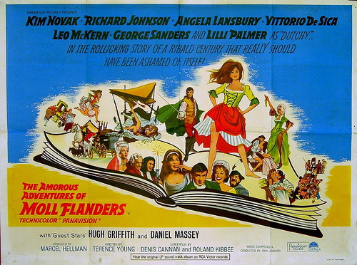 "Poster for the 1965 British adaptation of the book: ""The Amorous Adventures of Moll Flanders,"" starring Kim Novak."