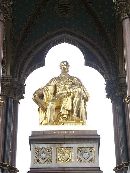 Statue of Prince Albert, covered in gold leaf, on the Albert Memorial