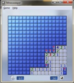 Step four: more mines found and flagged. Logic is the same. Search for squares, where the number of covered adjacent tiles is equal to number of mines that need to be found nearby. Note that number of mines to be found on the whole board decreases as