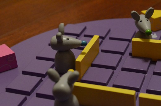 Quoridor for kids has a cute mouse and cheese theme, but it's still full of strategy!