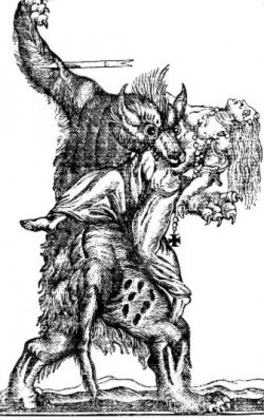 An 18th century engraving of a werewolf
