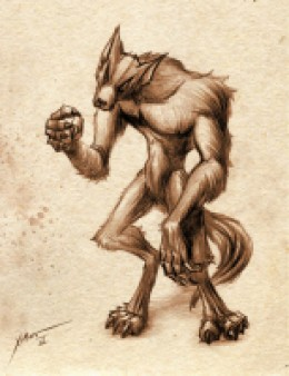 Werewolf with long arms