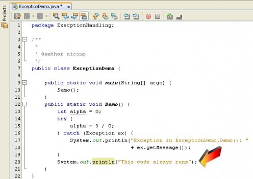 Figure 05 - Our example program with more code added. The code beyond the try/catch block will always be executed.