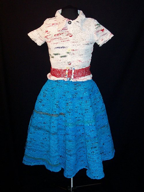 Cathy Kasdan created this 50's ensemble, knit from plastic bags.