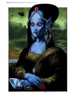 painting of the Mona Lisa as an Alien