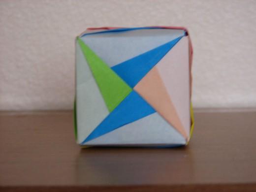 Modular origami cube.