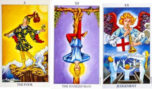the Fool, the Hanged man and Judgement