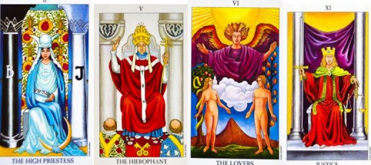 The High Priestess, the Hierophant, the Lovers and Justice