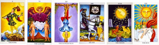 The Fool, the Lovers, the Hanged Man, Death, the Moon and the Sun