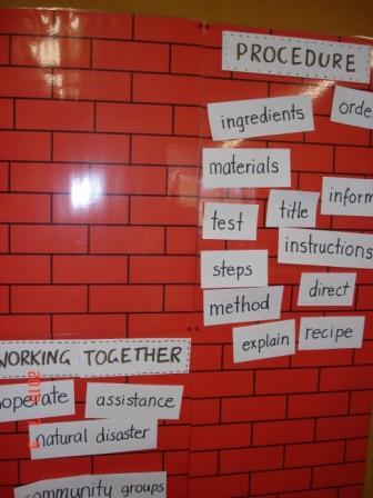 Word wall in Rachael's 2/3 classroom