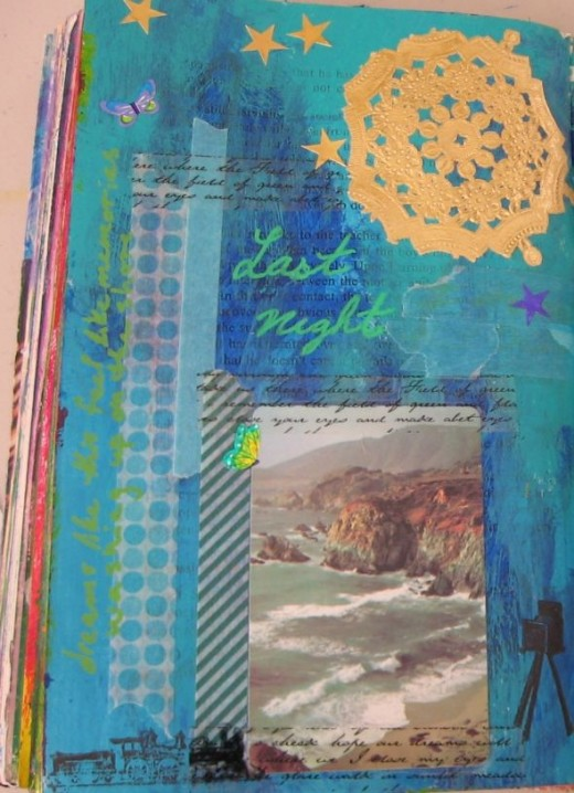 Using Deco Tape to Attach Stuff to Your Art Journal Page
