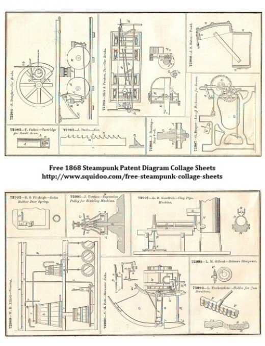 Free Digital Collage Sheet - Steampunk Antique Machinery - Patent Diagrams