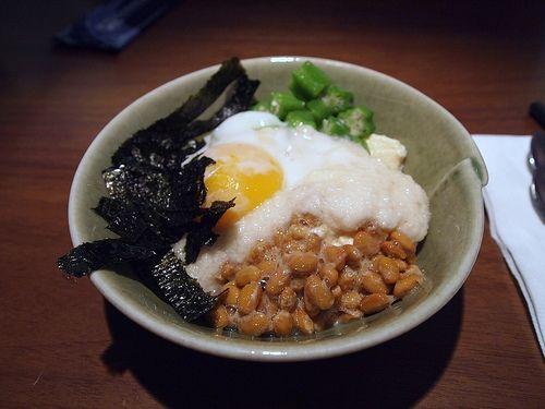 Natto, egg, yam and okra over rice