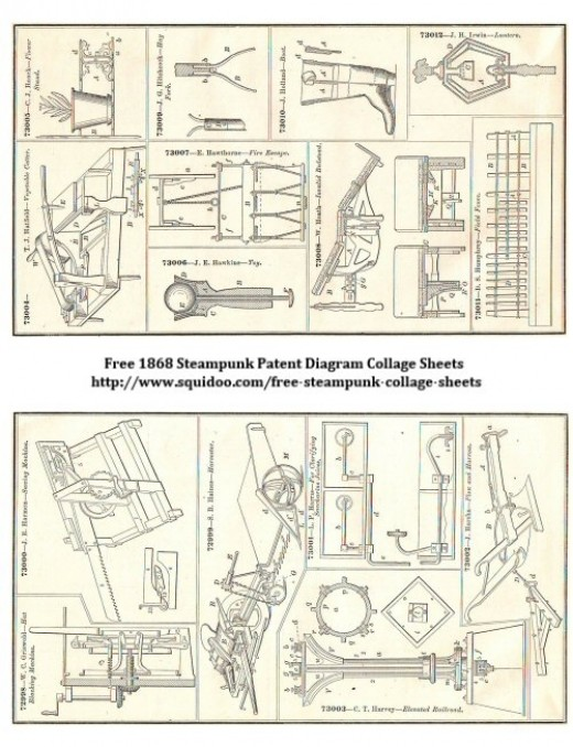 Free Digital Collage Sheet - Steampunk Inventions Illustrations - Patent Diagrams
